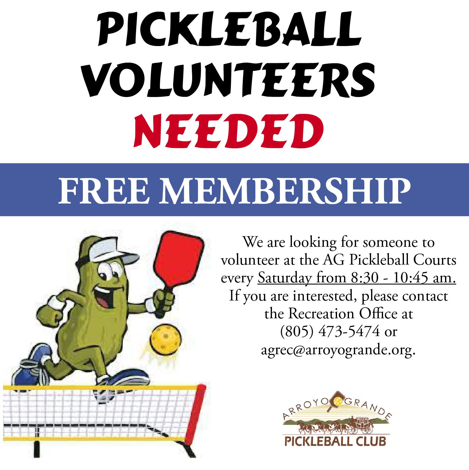 Pickleball Volunteers Needed